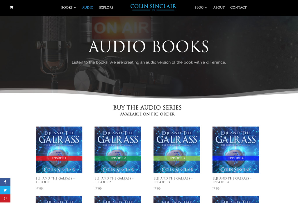 Colin Sinclair Author Website - Audio Books - The Online Author - Projects
